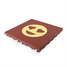 Fallschutzmatte rot mit gelbem Herzaugen-Smiley