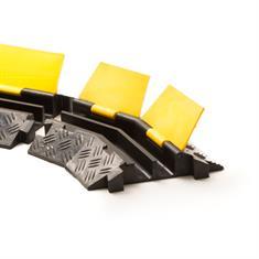 Kabelbrücke 2 Kanäle Bogenstück links schwarz/gelb 400x255x4
