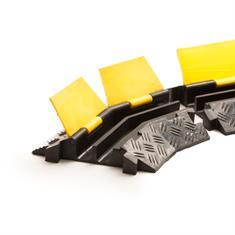 Kabelbrücke 2 Kanäle Bogenstück rechts schwarz/gelb 400x255x