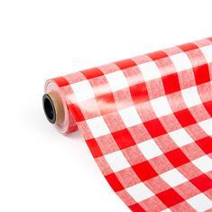 PVC Tischdecke rot/weiß (140cm breit)