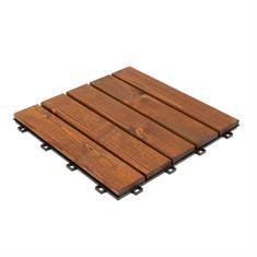 Terrassenfliesen aus Holz braun 30x30x1,9cm